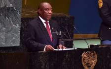 President Cyril Ramaphosa addresses the UN General Assembly in New York on 25 September 2018. Picture: @PresidencyZA/Twitter