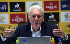 Bafana Bafana coach Hugo Broos during a press conference at SAFA House on 12 May 2021. Picture: @bafanabafana/Twitter