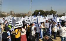 SA Friends of Israel gather in Pretoria for a march to the Union Buildings on 25 July 2018. Picture: @MZANSIISRAEL/Twitter