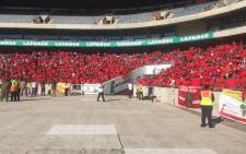 Hundreds of Economic Freedom Fighters gather at Orlando Stadium in Soweto ahead of the party's election manifesto launch on 30 April 2016. Picture: Picture: Kgothatso Mogale/EWN.