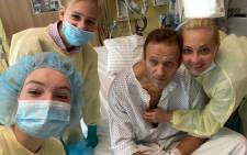 Navalny posted a picture, appearing with his wife and two children in the Berlin hospital, on Instagram. Picture: Instagram/