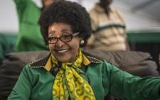 FILE: The late ANC stalwart Winnie Madikizela-Mandela looks on as she is greeted by Women's League supporters gathered in Soweto on 26 September 2016 to celebrate her 80th birthday. Picture: AFP