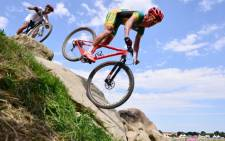 Burry Stander competes in the men's cycling cross-country mountain bike race of the London 2012 Olympic Games on 12 August 2012 at Hadleigh Farm in Benfleet. Picture: AFP