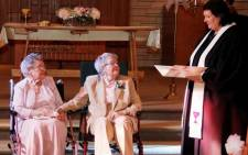 Vivian Boyack  and Nonie Dubes exchanged vows at the First Christian Church in Davenport on 6 September, 2014. Picture: Twitter.
