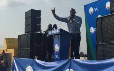 Democratic Alliance leader Mmusi Maimane addressing the crowd at the DA's election manifesto in Midvaal. Picture: Masa Kekana/EWN.