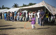 FILE: A lunch queue snakes from a tent at a temporary camp for foreign nationals displaced by xenophobic violence in Isipingo, Durban. Picture: Aletta Gardner/EWN