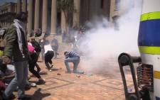 FILE: Students and police clashed in Braamfontein during 2016 #FeesMustFall protests. Picture: Kgothatso Mogale/EWN.