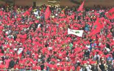 EFF supports are seen at Orlando Stadium to pay their last respect to Mama Winnie Madikizela-Mandela on 14 April. Picture: GCIS.