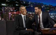 US President Barack Obama shares a joke with TV host Jimmy Kimmel. Picture: AFP