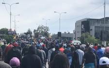 Alexandra residents march on Grayston Drive on 8 April 2019.