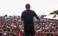 A massive crowd of EFF supporters turned out to listen to the campaign message from party leader Julius Malema in the Madibeng Municipality in the North West on 8 October 2021. Picture: Abigail Javier/Eyewitness News