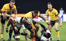 Australia's prop Scott Sio carries the ball during the Japan 2019 Rugby World Cup Pool D match between Australia and Fiji at the Sapporo Dome in Sapporo on 21 September 2019. Picture: AFP