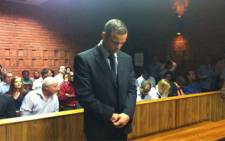 Olympic and Paralympic sprinter Oscar Pistorius during his bail hearing. Picture: SAPA