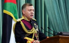 FILE: Jordan's King Abdullah II delivers a speech as he opens the regular parliament session in the capital Amman on 12 November 2017. Picture: AFP