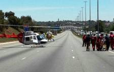 An ER24 Helicopter on the scene of the N1 Mariasburg collision on 5 November 2014 where multiple fatalities and injuries were reported. Picture: Twitter via @ER24.