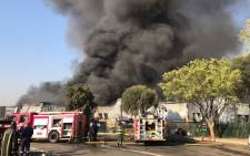 Johannesburg firefighters are battling a blaze at a factory in Kya Sand. Picture: Christa Eybers/EWN