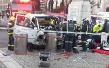 Emergency response personnel at the scene of an accident outside the Parliament precinct in Cape Town on 20 August 2021. At least 22 school children were hurt in the accident. Picture: Supplied