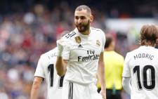 Real Madrid Karim Benzema celebrates scoring a goal against Athletic Bilbao. Picture: @realmadriden/Twitter.