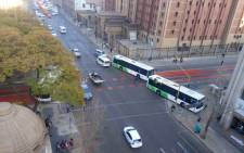 The Pretoria CBD was gridlocked on 29 July 2019 with stationary buses blocking several roads. Picture: @JabuMoroko/Twitter.