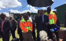 President Jacob Zuma arrives in Alexandra to assess flood damage and address the community. Picture: Thando Kubheka/EWN