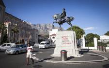 The Louis Botha statue outside of Parliament was defaced with red and purple paint in the early hours of 9 April. Picture: Thomas Holder/EWN