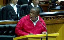 A screen grab of EFF leader Julius Malema speaks during the State of the Nation Debate in parliament on 17 February 2015. Picture: YouTube.