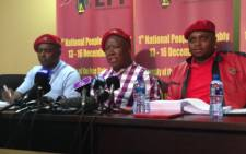 The Economic Freedom Fighters, Godrich Gardee, Julius Malema, and Floyd Shivambu at the party's press conference on the Marikana report on 2 July 2015. Picture: Vumani Mkhize/EWN.