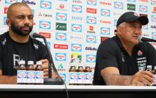 Japan captain Michael Leitch (left) and coach Jamie Joseph at a press conference. Picture: @JRFURugby/Twitter