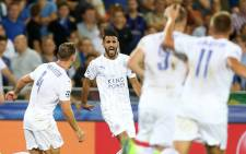 Leicester City's Riyad Mahrez celebrates with his team-mates after scoring a second goal in the Uefa Champions League clash against Bruges on 14 September 2016. Picture: Facebook.