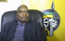 Screengrab of former President Jacob Zuma delivering an address during the virtual memorial service for ANC stalwart Andrew Mlangeni, who died at the age of 95.