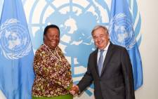 International Relations and Cooperation Minister Naledi Pandor (L) shakes hands with UN secretary-general António Guterres at the UN headquarters in New York. Picture: @Dirco_ZA/Twitter.