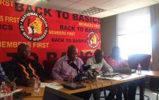 Members of the NUM NEC briefing the media following their meeting. Picture: Mia Lindeque/EWN