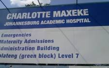 Charlotte Maxeke Johannesburg Academic Hospital sign. Picture: ewn.