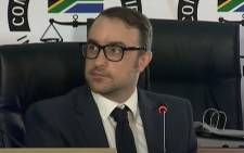 A screengrab of Paul Holden, a researcher at Shadow World Investigations, testifying at the state capture commission on 3 December 2020. Picture: SABC Digital News/YouTube