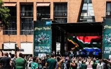 Springbok supporters outside Nelson Mandela Square, Sandton on 1 November 2019. Picture: Demi Buzo/EWN