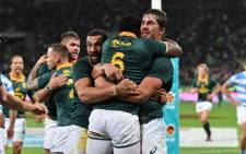 The Springboks celebrate during a match against Argentina on 19 August 2017. Picture: @Springboks.
