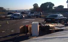 The N1 highway between the R21 off ramp and Atterbury Road was closed on 9 April 2009 after a cement truck collided with about 20 cars. Picture: Aki Anastasiou/Eyewitness News