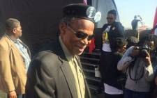IFP leader Mangosuthu Buthelezi arrives at the Huntersfield Stadium in Katlehong for the party's election manifesto. Picture: Masa Kekana/EWN.""