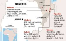 Graphic showing main kidnappings and detentions of Nigerian women and girls by Boko Haram fighters, according to a report by Amnesty International. Source: AFP.