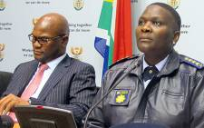 Minister of Police Nathi Mthethwa, and National Police Commissioner Riah Phiyega. Picture: EWN.