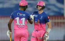 Sanju Samson and Steve Smith of the Rajasthan Royal put on a key 121-run second-wicket partnership to help the side a 16-run win over Chennai Super Kings in their Indian Premier League match on 22 September 2020. Picture: @IPL/Twitter