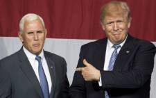 FILE: US president Donald Trump and his vice president Mike Pence. Picture: AFP.