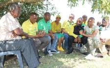 ANC secretary-general Ace Magashule (second from left) listens to party members during election campaigning in Kwambonambi in northern KwaZulu-Natal on 2 May 2019. Picture: @MYANC/Twitter
