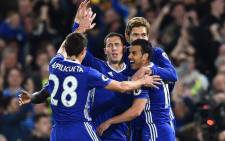 Chelsea players celebrate a goal. Picture: @ChelseaFC/Twitter