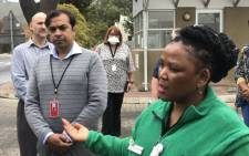 Western Cape Health MEC Nomafrench Mbombo (L) on 6 April 2020 visited Paarl Hospital's Triage and Screening Centre. Picture: Kevin Brandt/EWN.