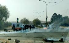 Motorists have been advised to avoid Turf Road and Buckingham Avenue, near the police station, as they have been blocked with rocks and burning tyres. Picture: JMPD Twitter