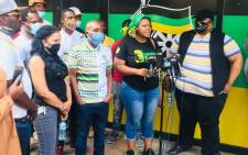 Members of the ANCYL crisis committee holding a media briefing outside Luthuli House on 18 October 2020. Picture: @NoncebaMhlauli/Twitter