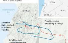 Graphic showing contested claims about the flightpath of the shot Russian warplane that crashed in Syria on Tuesday.