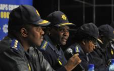 FILE: National Police Commissioner Riah Phiyega addresses the media on the Lonmin shooting. Picture: GCIS.