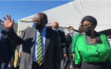 President Cyril Ramaphosa and ANCWL president Bathabile Dlamini in eGqudesi, Eastern Cape, on 7 March 2021 to celebrating 150 years of Charlotte Maxeke. Picture: @MYANC/Twitter.